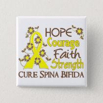Hope Courage 3 Spina Bifida Pinback Button