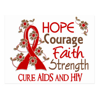 Hope Courage Faith Strength 3 AIDS Postcard