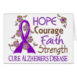 Hope Courage Faith Strength 3 Alzheimer's Disease Greeting Cards