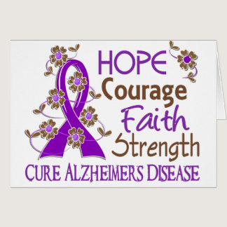 Hope Courage Faith Strength 3 Alzheimer's Disease Card