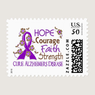 Hope Courage Faith Strength 3 Alzheimer's Disease Postage