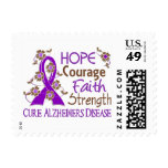 Hope Courage Faith Strength 3 Alzheimer's Disease Postage Stamp