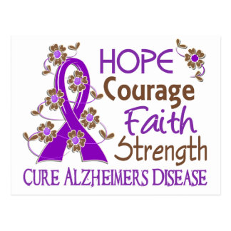 Hope Courage Faith Strength 3 Alzheimer's Disease Postcard