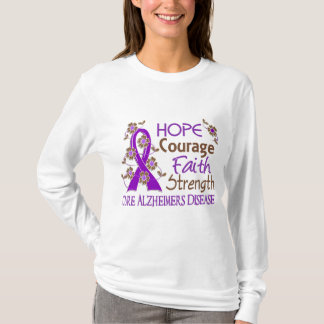 Hope Courage Faith Strength 3 Alzheimer's Disease T-Shirt