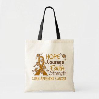 Hope Courage Faith Strength 3 Appendix Cancer Canvas Bag