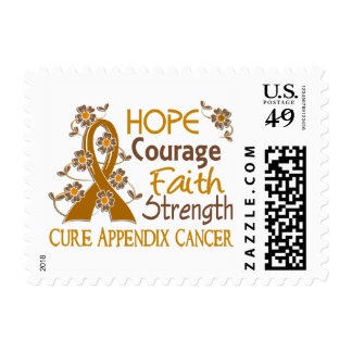 Hope Courage Faith Strength 3 Appendix Cancer Stamps