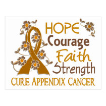Hope Courage Faith Strength 3 Appendix Cancer Postcard