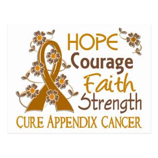 Hope Courage Faith Strength 3 Appendix Cancer Postcard