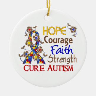 Hope Courage Faith Strength 3 Autism Double-Sided Ceramic Round Christmas Ornament