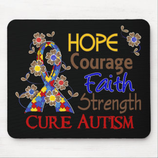 Hope Courage Faith Strength 3 Autism Mouse Pad