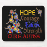 Hope Courage Faith Strength 3 Autism Mousepads