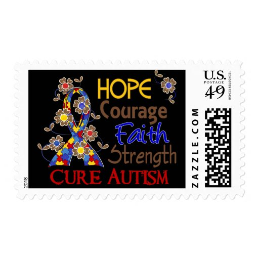 Hope Courage Faith Strength 3 Autism Postage Stamp