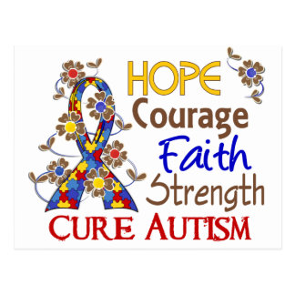 Hope Courage Faith Strength 3 Autism Postcard