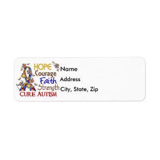 Hope Courage Faith Strength 3 Autism Return Address Label