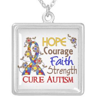 Hope Courage Faith Strength 3 Autism Square Pendant Necklace