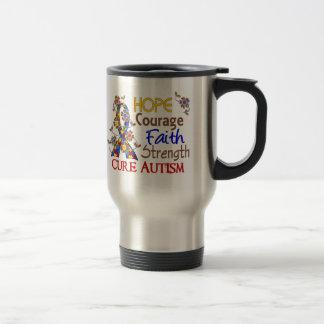 Hope Courage Faith Strength 3 Autism Travel Mug