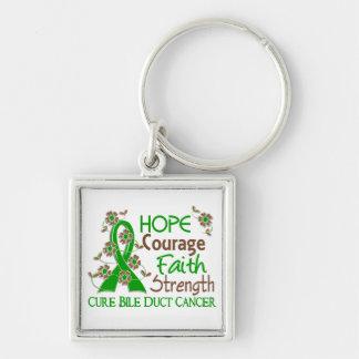 Hope Courage Faith Strength 3 Bile Duct Cancer Keychain