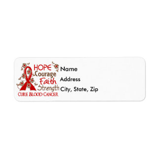 Hope Courage Faith Strength 3 Blood Cancer Label