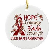 Hope Courage Faith Strength 3 Brain Aneurysms Ceramic Ornament
