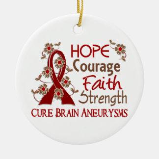 Hope Courage Faith Strength 3 Brain Aneurysms Double-Sided Ceramic Round Christmas Ornament