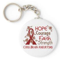 Hope Courage Faith Strength 3 Brain Aneurysms Keychain
