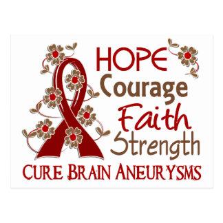 Hope Courage Faith Strength 3 Brain Aneurysms Postcard