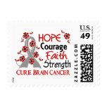 Hope Courage Faith Strength 3 Brain Cancer Postage Stamp