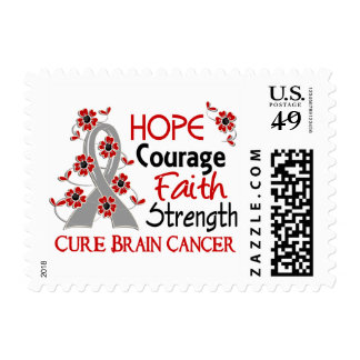 Hope Courage Faith Strength 3 Brain Cancer Stamps