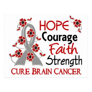 Hope Courage Faith Strength 3 Brain Cancer Postcard