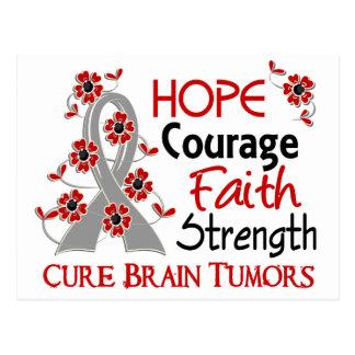 Hope Courage Faith Strength 3 Brain Tumors Postcard