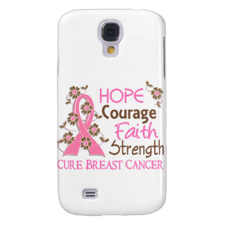 Hope Courage Faith Strength 3 Breast Cancer Samsung Galaxy S4 Cases