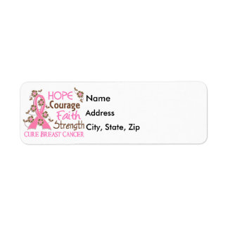 Hope Courage Faith Strength 3 Breast Cancer Label