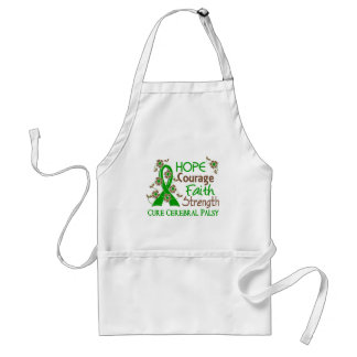 Hope Courage Faith Strength 3 Cerebral Palsy Adult Apron