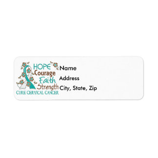Hope Courage Faith Strength 3 Cervical Cancer Label