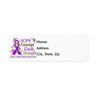 Hope Courage Faith Strength 3 Chiari Malformation Label
