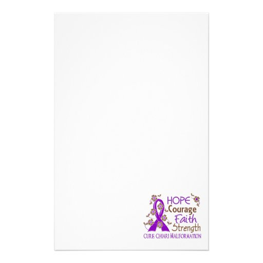 Hope Courage Faith Strength 3 Chiari Malformation Stationery Design