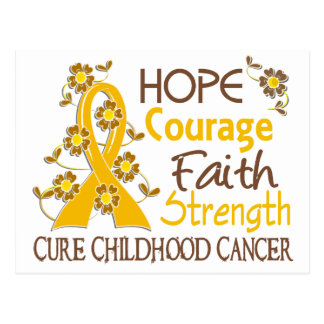 Hope Courage Faith Strength 3 Childhood Cancer Post Cards