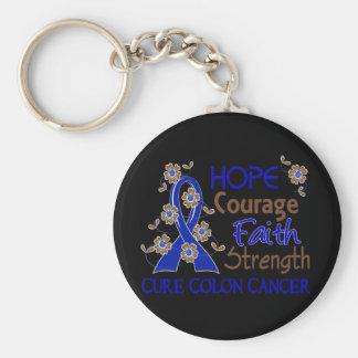 Hope Courage Faith Strength 3 Colon Cancer Keychain