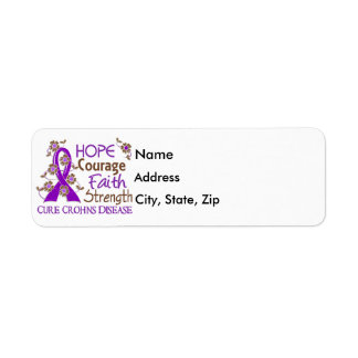 Hope Courage Faith Strength 3 Crohn's Disease Return Address Label
