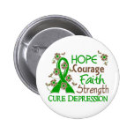 Hope Courage Faith Strength 3 Depression Button