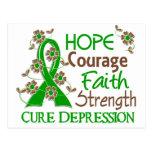 Hope Courage Faith Strength 3 Depression Postcard