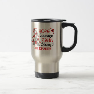 Hope Courage Faith Strength 3 Diabetes 15 Oz Stainless Steel Travel Mug
