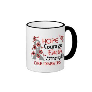 Hope Courage Faith Strength 3 Diabetes Ringer Coffee Mug
