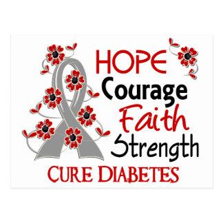 Hope Courage Faith Strength 3 Diabetes Postcard