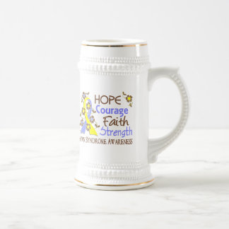 Hope Courage Faith Strength 3 Down Syndrome Coffee Mugs