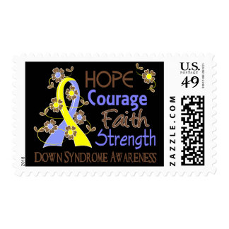 Hope Courage Faith Strength 3 Down Syndrome Postage Stamp