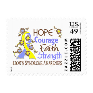 Hope Courage Faith Strength 3 Down Syndrome Postage