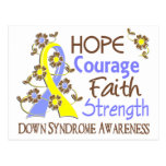 Hope Courage Faith Strength 3 Down Syndrome Post Cards