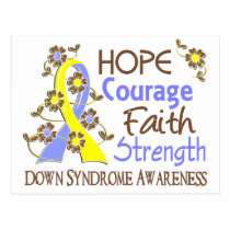 Hope Courage Faith Strength 3 Down Syndrome Postcard