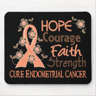 Hope Courage Faith Strength 3 Endometrial Cancer Mouse Pad